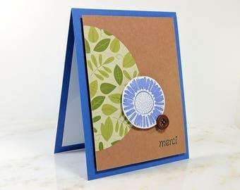 "Handmade Floral ""Merci"" Greeting Card"
