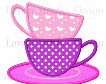 Birthday Tea Cups Applique Machine Embroidery Design NO:0573