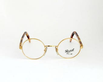 Vintage Eye Glasses Frames Persol Ratti mod. Jabez, Steampunk Round Metal with Meflecto tecnology '80 NOS