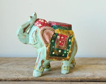 Hand Carved Wooden Aqua Hand Painted Elephant