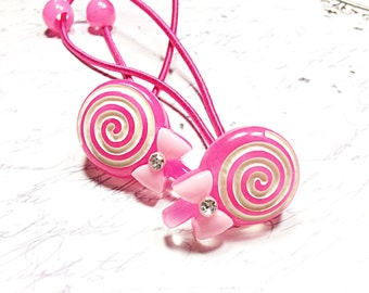pink lollipop ponytail holders - hair ties