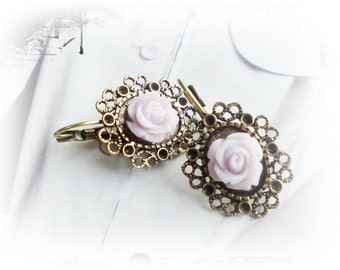 Earrings, vintage-style with rose
