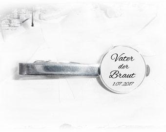 Tie clip, father of the bride, date