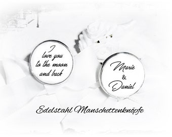 Stainless steel personalized cufflinks, I love you to the moon...