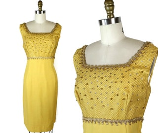 Yellow 1960s Dress with Beads and Bows / Sunshine Yellow 60s Vintage Sheath Dress