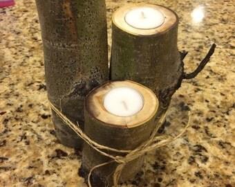 Set of 3 Rustic Aspen Candleholders!