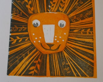 Leo The Lion Zodiac Sign Lino Print, Limited Edition. Ideal for a gift or a treat!