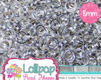 8mm Silver Split Rings, Double Loop Jump Rings, Silver Tone Tiny Key Rings, Silver Plate Split Rings, Pkg of 150