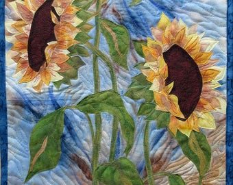Hand painted fabric art quilt, wallhanging - Sunflowers