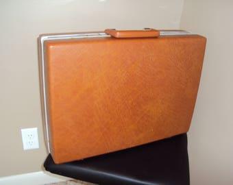 Mid Century Samsonite Hard Side Briefcase/Attache/Burnt Orange/Brown Briefcase/Vtg Briefcases/ Vtg Samsonite Case 18 X 13 X 5/ Computer Case