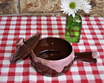 Individual Handled Brown Drip Bean Pot with Pink Drip Made in Japan