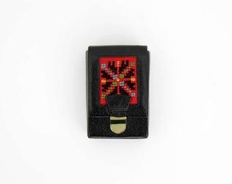 Vintage cigarette case // black embroidered leather case from Yugoslavia