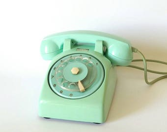 Vintage rotary phone, Turquoise dial phone, retro phone,  Green rotary phone telephone, european telephones