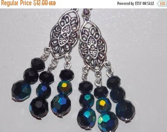 15%OFF Black Czech Glass Chandelier Earrings