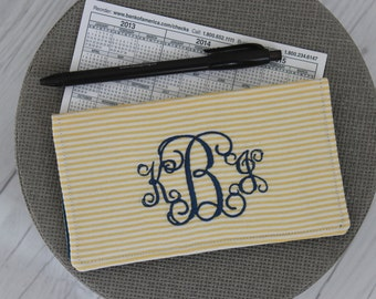 Personalized Checkbook Cover, Monogrammed Case, Slip Wallet, Coupon/Receipt, Personalized Gift, Seersucker