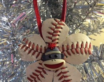Sock Monkey Baseball Ornament