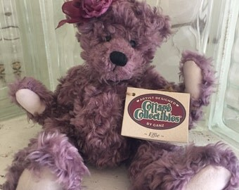SALE Artist Designed Cottage Collectibles by Ganz Plum Purple Ganz Stuffed Bear Effie CC337, Art Doll with floral bow, Teddy Bear Collection