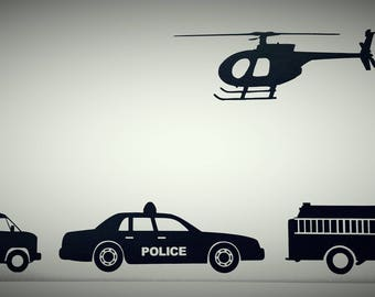 """Rescue Vehicles 4"""" Small Vinyl Decals, Helicopter, Fire Truck, Police Car, Fire truck, Vinly Decals, Wall Decal, Wall Decals"""