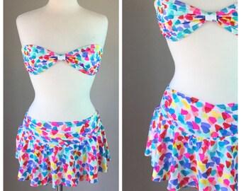 Vintage 80's Cole of California skirt bikini