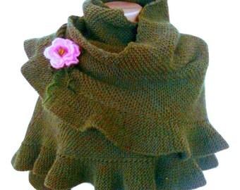 Khaki Hand Knit Ruffle Shawl, Winter Fashion Accessory, Green Warm Soft Shawl