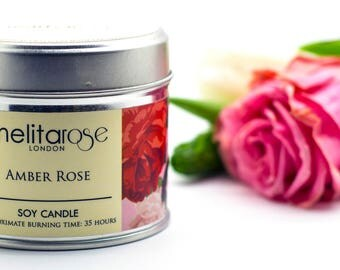 Amber Rose Soy Scented Candle Tin