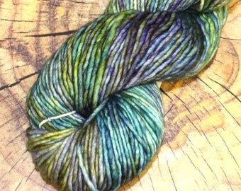 SALE 25% OFF Malabrigo Mecha Indiecita Merino Wool #416 in bulky weight 1 ply yarn, pastel blue, green, purple, yellow in 100 gram skein