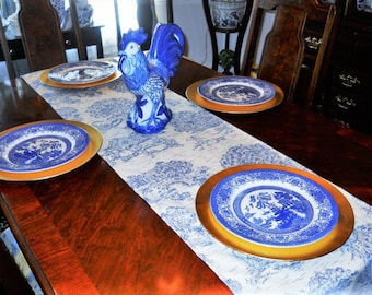Blue Toile Table/Bed Runner, French Toile Table Cloth/Scarf, French Table/Bed Linen, 16''x90'' Buffet Runner, Dresser Runner, Toile Scarf.