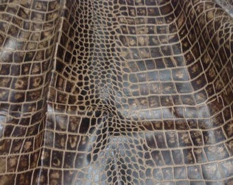 EMB128 Leather Cow Hide Cowhide Craft Fabric Brown Embossed Reptile 20 sq ft  FREE SHIPPING