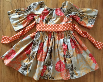 Girls Holiday  Thanksgiving dress, toddler holiday dress