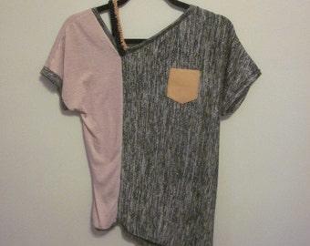 Rae Top- Soft Pink/Heather Black