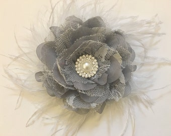 Silver Gray, Fascinator, Bridal Hair Flower Feather Clip, Gray Hair Flower Clip, White, Ivory, Off White Flower Feather Hair Clip
