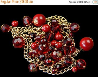Red Dangle Bead Necklace Long Chain 38 Inches