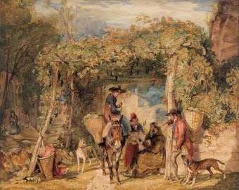 "John Frederick Lewis : ""Figures and Animals in a Vineyard"" (c. 1829) - Giclee Fine Art Print"