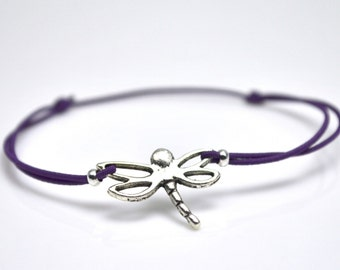 Dragonfly bracelet purple cord