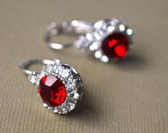 Earrings red crystal