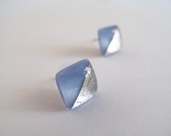 Blue Gray with Fine Silver  Square Stud Earrings - Hypoallergenic Titanium Posts
