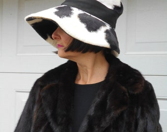 """Outrageous """"Lilly Dache"""" Show Stopping Black & White Faux Pony Fur Hat / 1950-60's"""