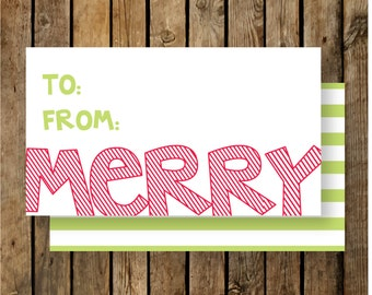 Personalized Holiday Gift Tags / Merry