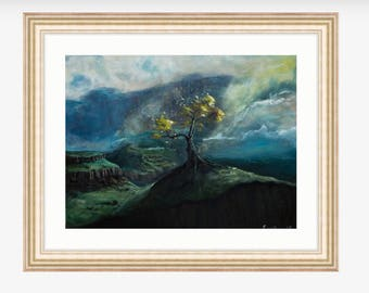 The Wind Blows Soft Here, Giclee Print, Original For Sale, Home Decor, Wall Art, Tree, Mountains