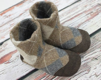 Big Kids slippers, Kids house shoes, Children's slippers, Wool Slipper boots, kids ankle boots, Ready to Ship, Kids shoes, sz 12 -13