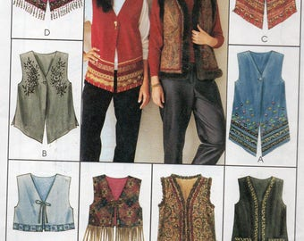McCall's EXPRESS YOURSELF Pattern 2915 Lined VESTS Misses Size Large 16-18