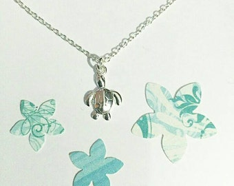 """Sterling Silver Turtle Charm Necklace on 18"""" Sterling Silver Link Chain including Gift Pouch. Ocean Beach Nautical Inspired Style Summer"""
