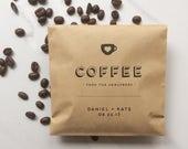 50 Coffee Favor Bags -  Kraft Wedding Paper Bags