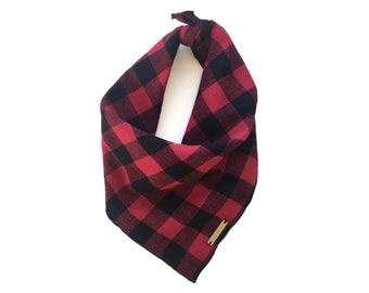 Buffalo Check dog bandana, pet bandana, red and black dog or cat scarf, puppy bandanna