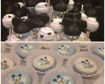 BABY MICKEY 1st Bday  - 12 Baby Mickey Mouse cake pop assortment  --PLUS-- 12 chocolate covered Oreo cookies featuring Baby Mickey Mouse