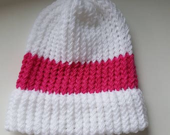 Knitter Beanie - Pink and White - Winter Hat