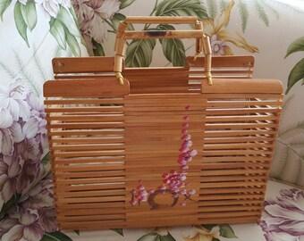Vintage Oriental Purse - Vintage Tote - Handmade Purse - Asian Handbag - Beach Tote - Wood Purse - Vintage Purses  - Retro Purse - Handbag