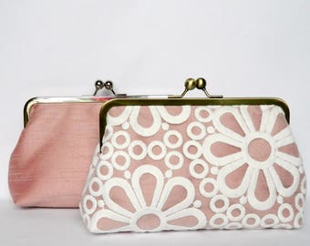 Bridesmaids Clutch, Combination Set of 2 Pink and Ivory Clutch, Bridesmaids Set, Lace Clutch, Silk Clutch, Wedding Clutch, Bridal Clutch