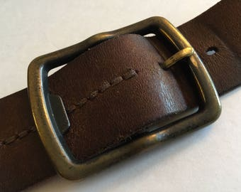 "1960s Distressed Leather Belt, Vintage Dark Brown Belt, Large Brass Buckle, Reinforced Stitching, 1.5"" Wide 44"" Long, Tarnished Brass Buckle"