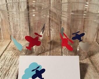 Airplane Party Cups, Airplane Birthday, Airplane Party Supplies, Airplane Cups, Airplane Place Cards, Airplane Theme